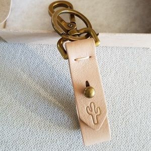 "Madewell ""Linen"" Pink Leather Front Door Key Fob"